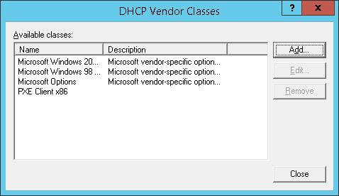 DHCP Vendor classes