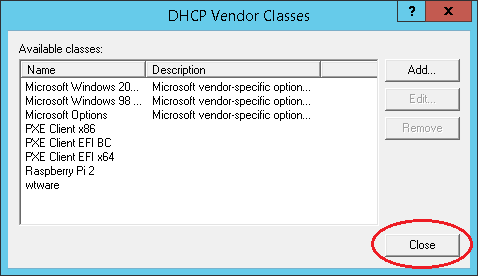 DHCP Vendors classes are ready